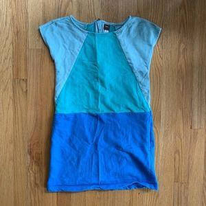 Tea Collection girls blue color shift dress size 8